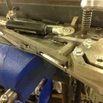 SDI lambo door fab  tack welding the gussets into place